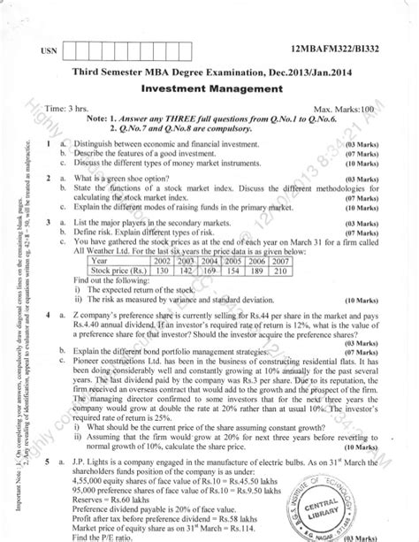 Mba 2013 Question Paper by 3rd Semester Mba Dec 2013 Question Papers