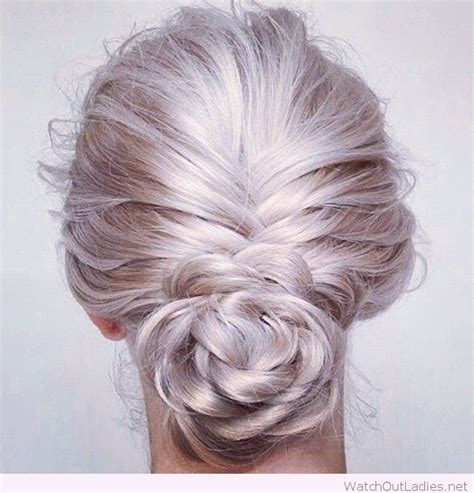 hair plats with color amazing pearl blonde hair colour tied in plait bun
