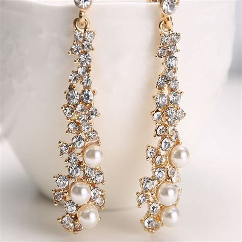 Chandelier Earing S Pearl Rhinestone Dangle Chandelier Earrings Bridal Gold Jewelry Ebay
