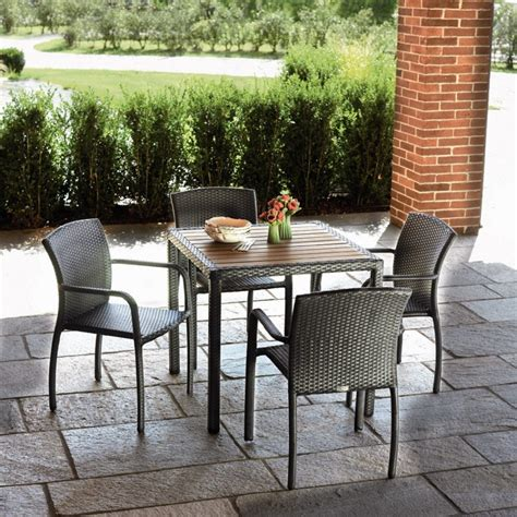 Furniture: Blini Piece Outdoor Dining Set Gray Wicker