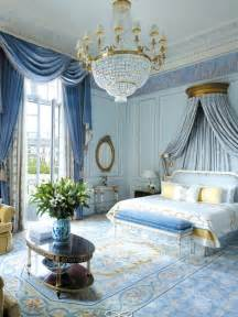 beautiful Marie Antoinette Decorating Style #9: Shangri-La-Hotel-Paris-blue-french-provincial-room-chandelier-moldings-gold-pretty-antique.jpg