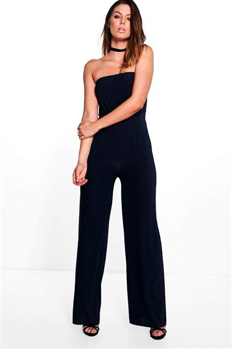 Legged Jumpsuits by Boohoo Womens Beth Strapless Wide Leg Jumpsuit Ebay