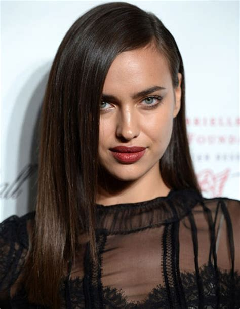 deep side part and long bangs hair beauty pinterest irina shayk s long straight hairstyle with deep side part