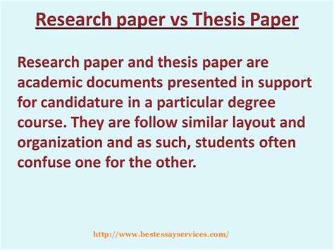 thesis vs dissertation research paper vs thesis paper