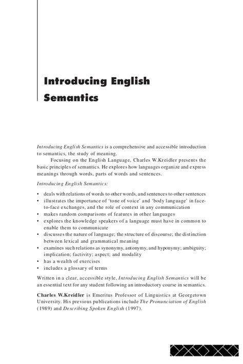 C Kreidler Introducing English Semantics 1998