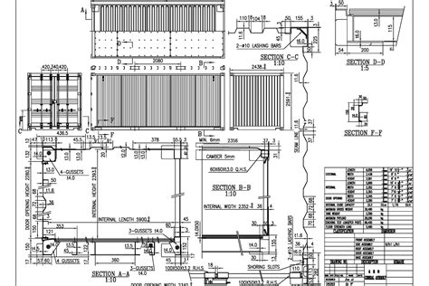 Floor Plans For Shipping Container Homes by 20gp Technical Drawing Shipping Container Dimensions