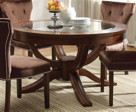 Best Finish For Dining Table Transitional 54 Quot Dining Table W Glass Top In Cherry Finish