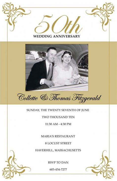 50th wedding anniversary card templates 10 best anniversary invitation images on