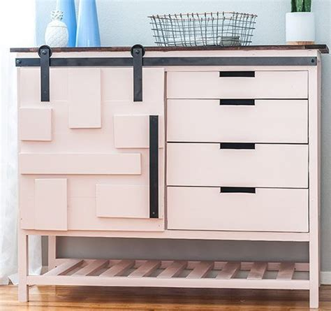 diy sliding barn door cabinet  drawers