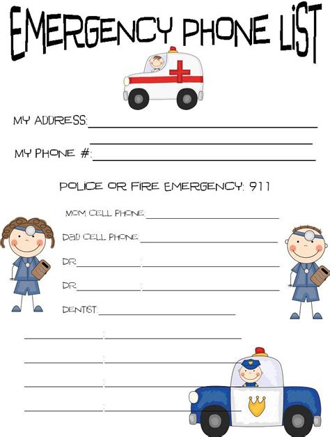 emergency list template important phone numbers clipart clipartxtras