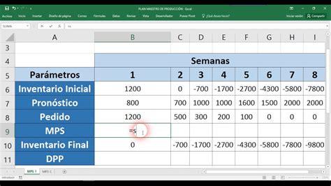 como hacer layout en excel plan maestro de producci 243 n ejemplo en excel youtube