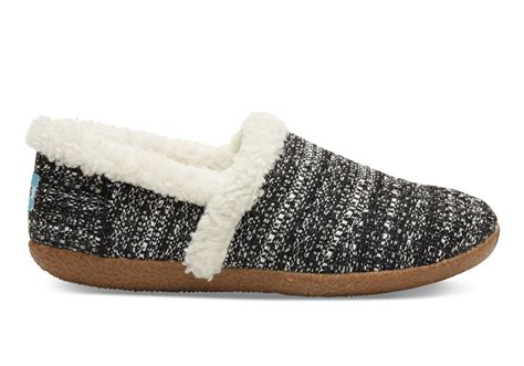 s slippers toms black white boucle s slippers in black lyst