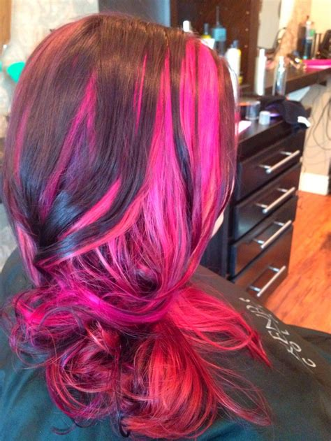 mens magenda colored hair hair highlights with magenta streaks hairstyle gallery