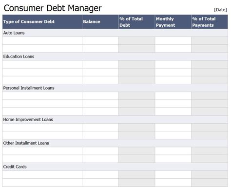 Excel Templates Free Excel Templates Debt Reduction Template