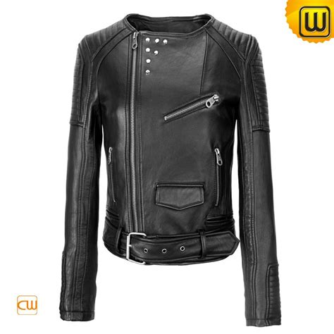 womens leather motorcycle jacket black leather motorcycle jackets cw608119