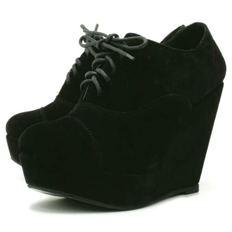 womens black suede style wedge platform ankle lace boots