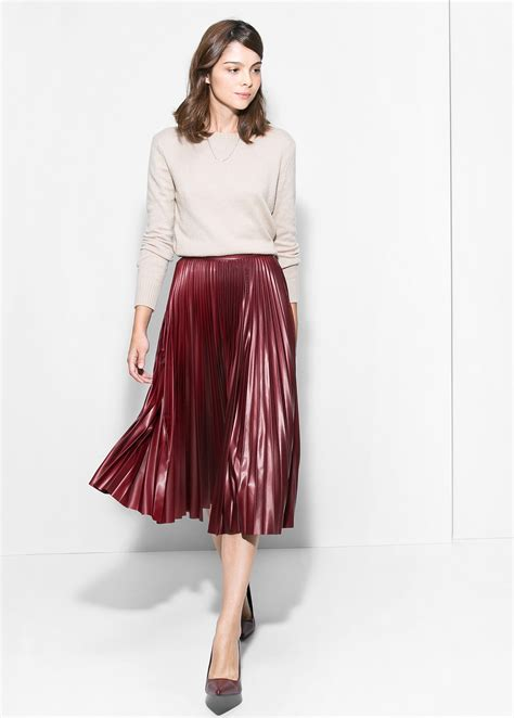 Pleated Midi Skirt Rok Murah Promo mango pleated midi skirt in lyst
