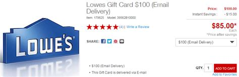 Lowe S E Gift Card - 100 lowe s egift card for 85 at staples frequent miler