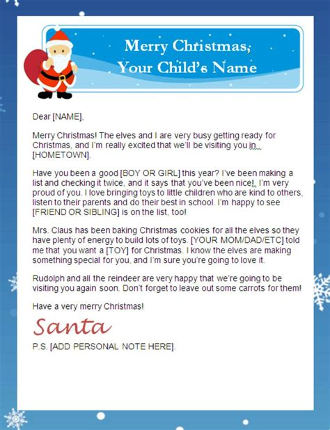 Letter From Santa Templates Free Printable Santa Letters Personalized Printable Letters Letter From Santa Template
