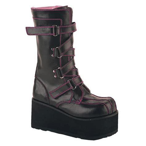 demonia platform boots demonia clash 435 velcro platform boots