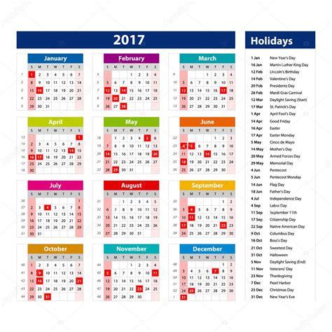 Calendario Usa Feriados Calend 225 De 2017 Eua Modelo De Ilustra 231 227 O