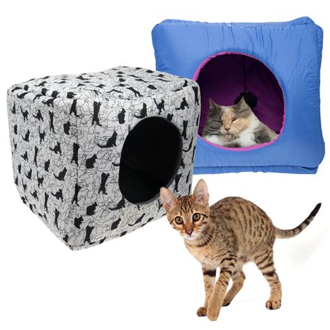 cat cube bed kookamunga kitty kube cat cube bed toy covered pet condo play cave igloo den ebay