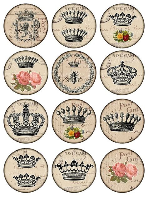 printable paper key tags crowns vintage printable tags digital collage sheet large