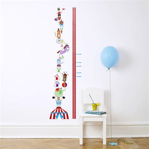 height wall sticker personalised circus height chart wall stickers by