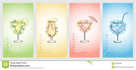 cocktail cards template set of design template for business cards with cocktails