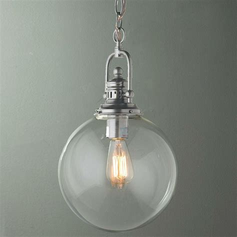 Glass Globe Pendant Light Clear Glass Globe Industrial Pendant Available In 3 Colors Bronze B