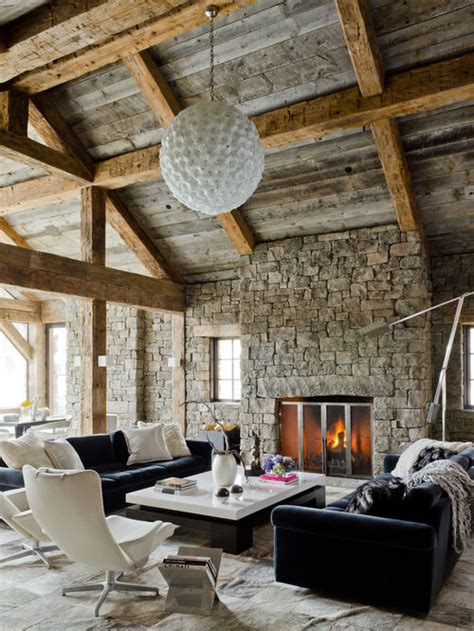 rustic modern living room houzz