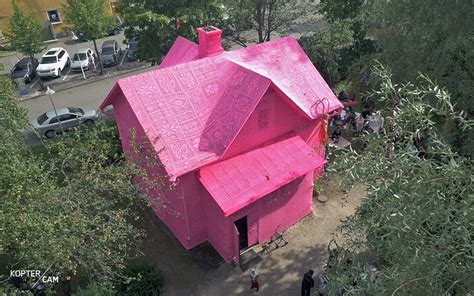 Pink Houses Warm Pink Noses by Olek Wraps Two Scandinavian Homes In Pink Crochet