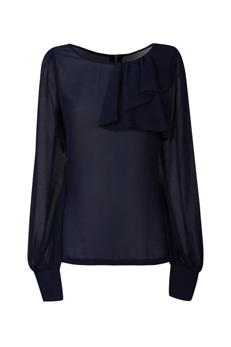 Blouse Denim Navy ruffle navy blouse blue denim blouses