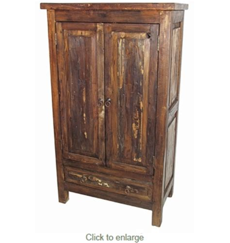 Distressed Wood Armoire by Rustic Distressed Wood Armoire 2 Doors And 1 Drawer