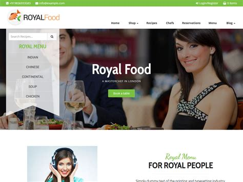 free wordpress themes zip files royal food restaurant and recipe wordpress theme