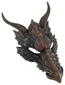 decorative figurines for home metallic bronze finish dragon head wall mask medieval