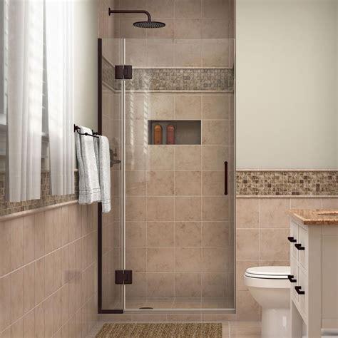 rubbed bronze shower door frame dreamline unidoor x 32 in x 72 in frameless pivot shower