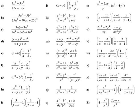 Algebraic Fractions Worksheet by Math Exercises Math Problems Algebraic Fractions