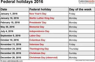 2015 Calendar Template With Holidays by Federal Holidays 2016