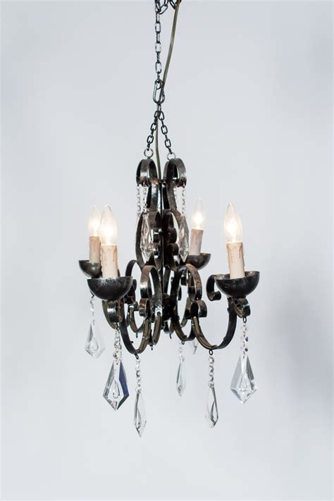 Marianne S Rentals Chandelier Black Iron With Crystals Black Iron Chandelier With Crystals