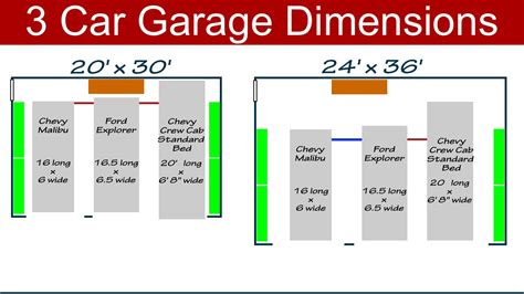 size of a 3 car garage ideal 3 car garage dimensions youtube