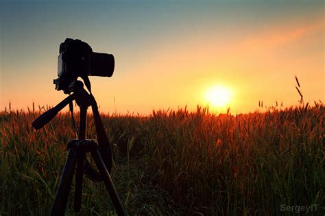 Tripod Background and tripod on sunset sky background and