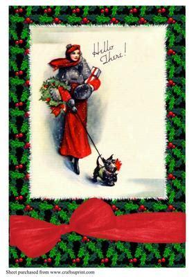 art deco lady walking dog christmas  cup craftsuprint