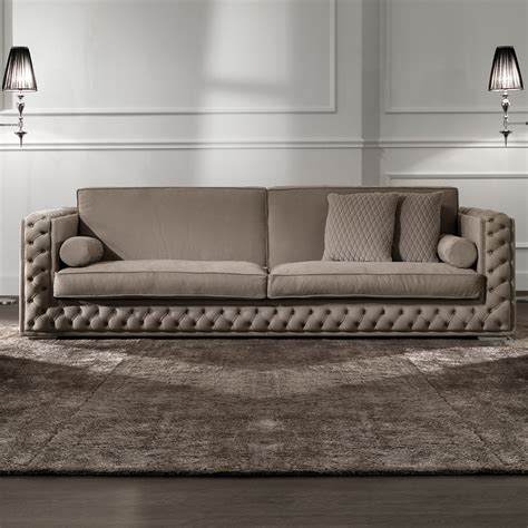 low sofa low leather button upholstered box sofa