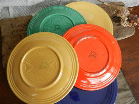 Orange Kitchen Canisters by Fantastic Vintage Fiesta Dinner Plates Multi Colored Set Of
