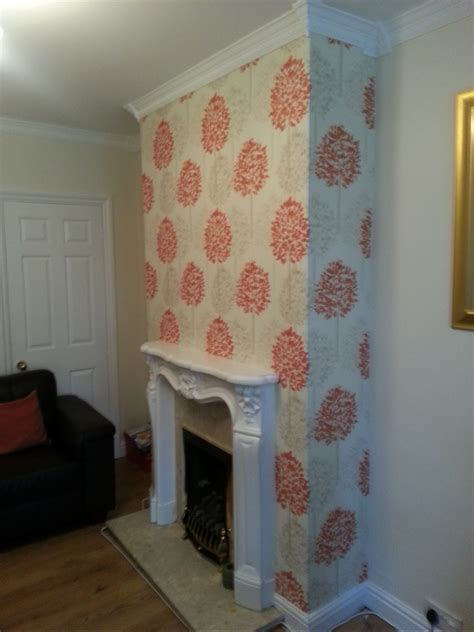 Wallpaper Fireplace Feature Wall. Large Size Of Living