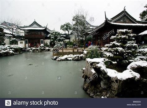 china garden winter yuyuan garden in winter shanghai china stock photo