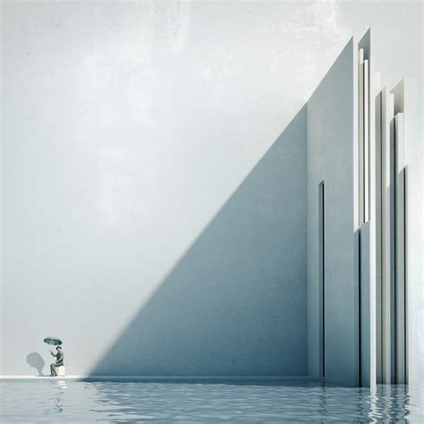 minimal architecture michele durazzi surreal cityscapes juxtapose nature and