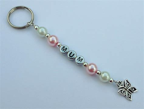 personalised beaded keyring or bag charm with name colour