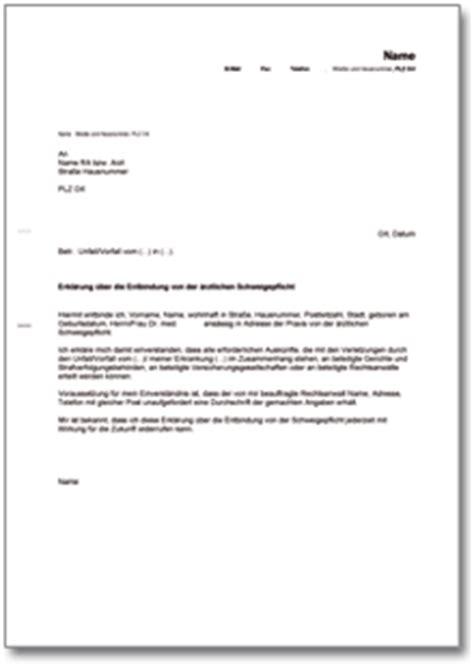Musterbrief Versicherung Wertminderung Erkl 228 Rung Zur Entbindung Der 228 Rztlichen Schweigepflicht De Musterbrief